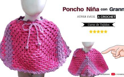 🌈 Poncho para Niña a Crochet con Granny y Cordones ✅ Tejidos a Crochet