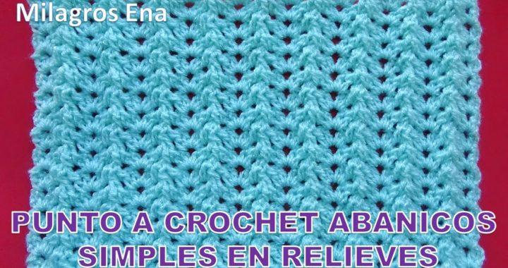 Punto a crochet Abanicos simples combinado con puntos en relieves