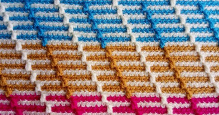 Punto mosaico # 1..Tutorial paso a paso.....tejido solo por el derecho del trabajo