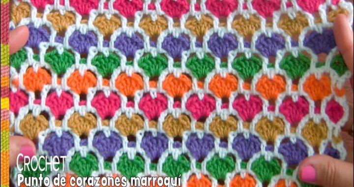 Punto reversible de corazones marroqui tejido a crochet / Tejiendo Perú