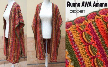 "Ruana AWA Amano ""estampada"" tejida a crochet / Tejiendo Perú"