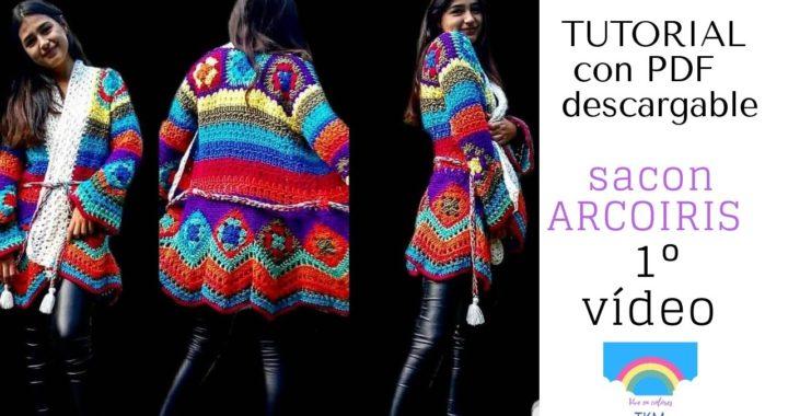 Sacón en crochet ARCOIRIS . ( GRANNY SQUARE)  TUTORIAL CON PDF DESCARGABLE