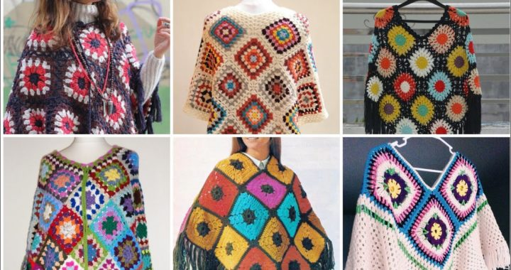Stunning Crochet Poncho/Granny Square Patterns Based Ladies colorful Poncho/Fringed Poncho