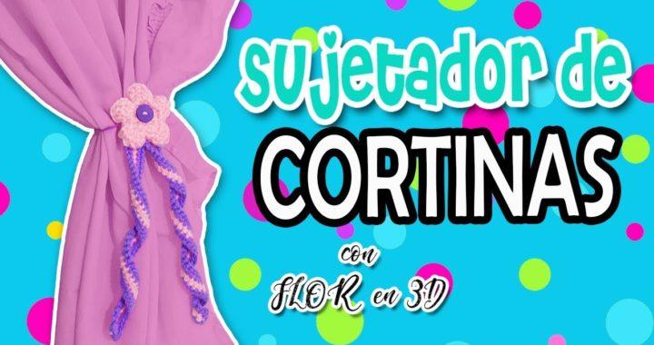 Sujetador de Cortinas tejido a crochet, Flor en 3D  | parte 2/2   RESORTE TEJIDO