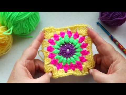 Sunburst Granny Square, easy crochet tutorial