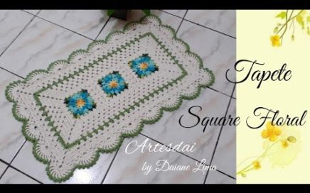 Tapete Square Floral em crochê