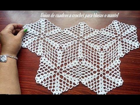 Unión de hexágono a crochet para mantel o blusas