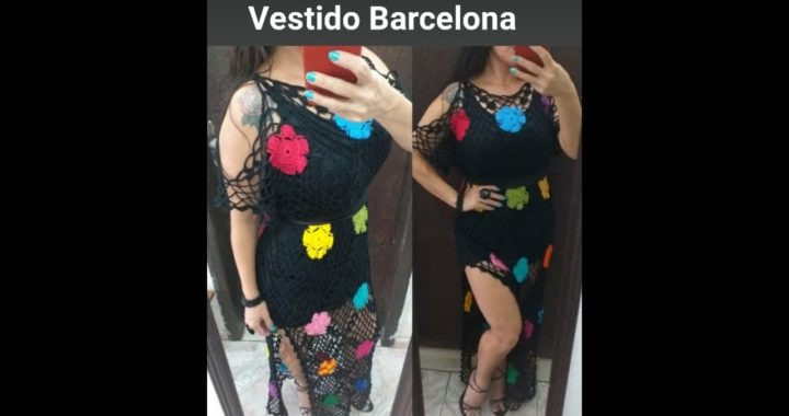 """Vestido preto de crochê """"Barcelona"""", tutorial passo a passo muito fácil e rápido, tamanho M/G"""
