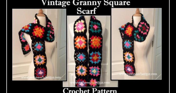 Vintage Granny Square Scarf Crochet Pattern