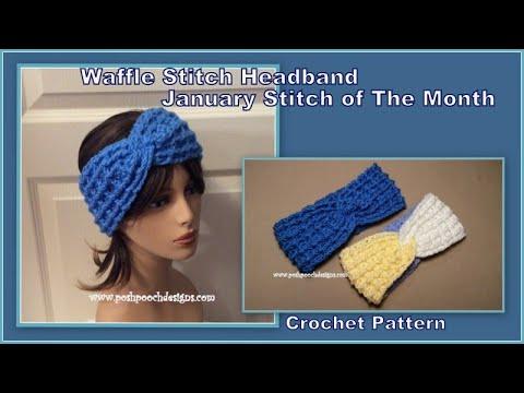 Waffle Stitch Headband - Jan Stitch of The Month #crochet #crochetvid #crochetheadband