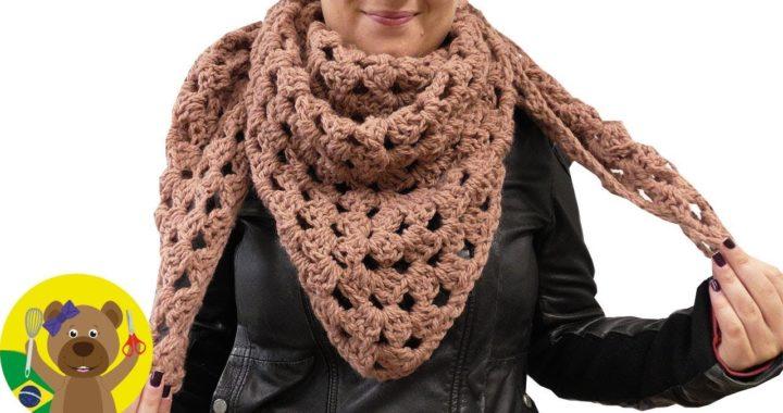 XXG Crochê em triângulo estilo vovó | Super fácil & quente |Cachecol faça você mesmo