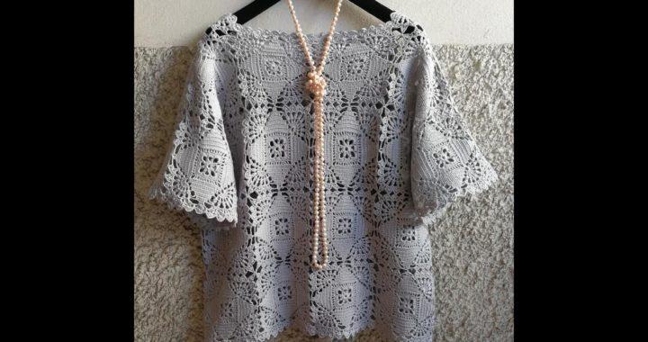 crochet blusa facil elegante domingo (subtitles several lenguage)