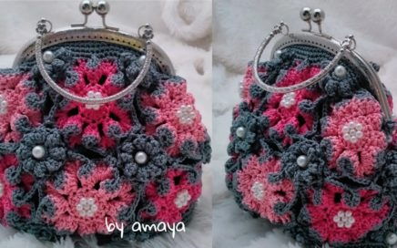crochet tutorial    Crochet Handbag    Tas rajut tangan bunga segi 8