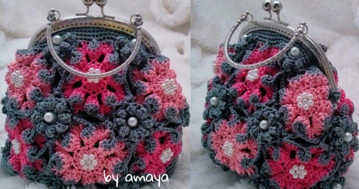 crochet tutorial || Crochet Handbag || Tas rajut tangan bunga segi 8