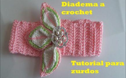 diadema a crochet para niñas paso a paso - facil de tejer - Tutorial para zurdos