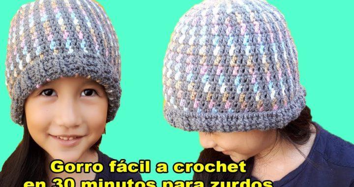 gorro a crochet para zurdos facil - easy crochet hat - Ganchillo todo en crochet