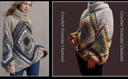 بلوفر كروشية اوفر سايز مع التشبيك وعمل الكولة How To crochet oversized pullover/ قناة كروشية يوتيوب