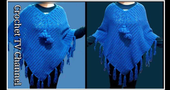شال بونشو كروشية بغرزة سهله للمبتدئين Crochet Poncho shawl Very Easy All Size/قناة كروشيه تي ڤي