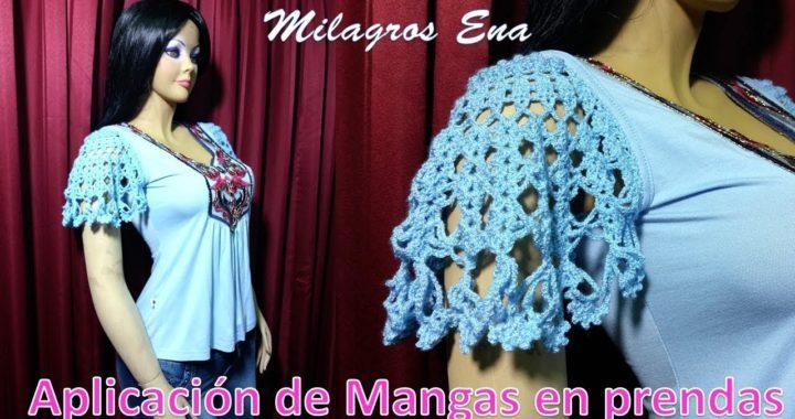 Aplicación de mangas tejidas a crochet en prendas como blusas y vestidos