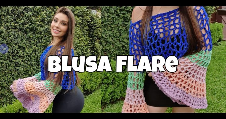 BLUSA/CROPPED DE CROCHÊ  - MODELO FLARE