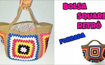 BOLSA SQUARE RETRÔ FORRADA / CROCHE BAG