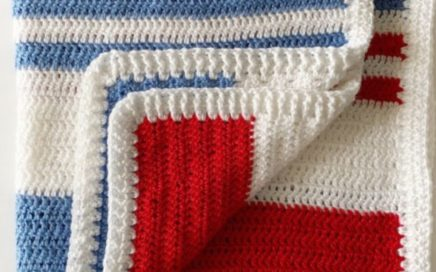 Beginner Double Crochet Blanket with Ribbing Border