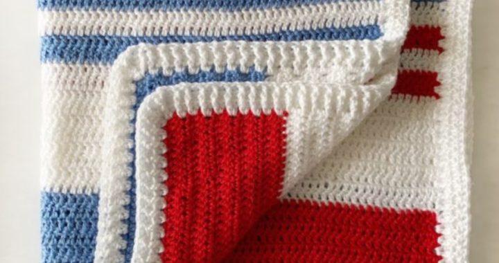 Beginner Double Crochet Blanket with Ribbing Border