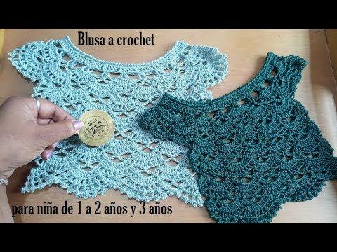 Blusa a crochet para niña de 1 a 3 años.