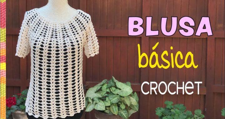 Blusa básica tejida a crochet... ¡muy fácil! / Tejiendo Perú