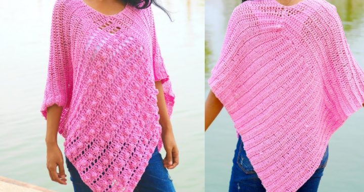 Bobble stitch crochet poncho free pattern