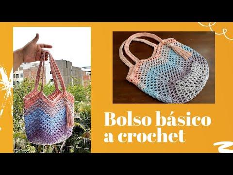 Bolso básico a crochet - Net Bag tutorial paso a paso - fácil de tejer