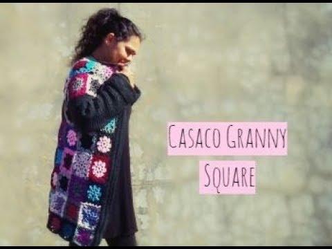 CASACO EM CROCHE COM GRANNY SQUARE