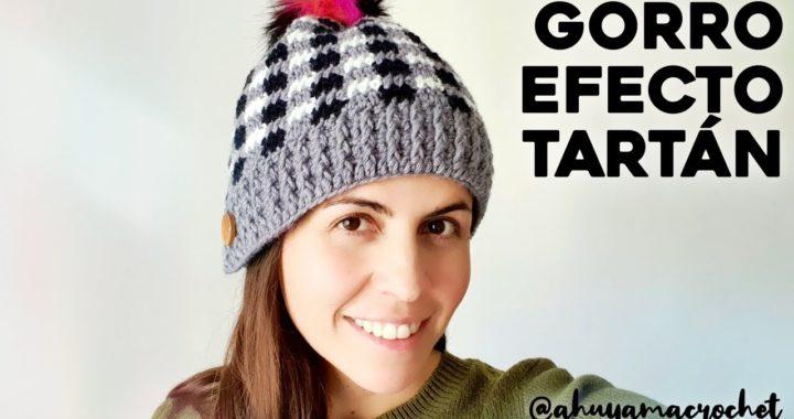 CÓMO TEJER GORRO A CROCHET, CUADROS TARTÁN O PLAID: tutorial crochet paso a paso | Ahuyama Crochet