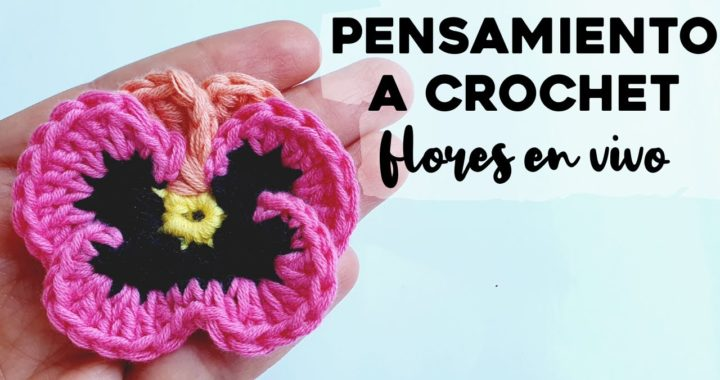CÓMO TEJER PENSAMIENTOS A CROCHET: tutorial paso a paso flor pensamiento a crochet | Ahuyama Crochet
