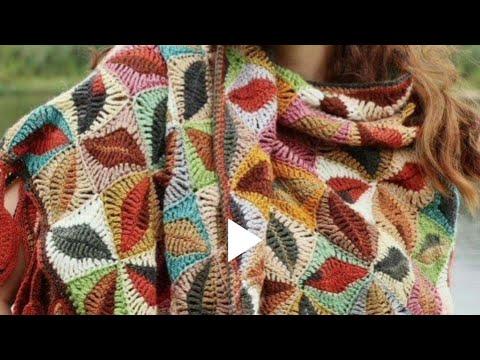 Chal rectangular con diseño de hojas tejido a crochet (muestra del tramado)