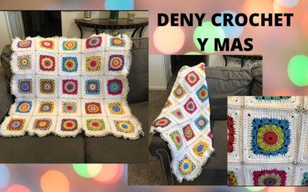 Cobija con granny square tejida en crochet paso a paso