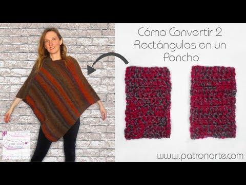 Cómo Convertir 2 Rectángulos de Tejido en un Poncho