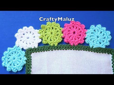Como Hacer Flores Tejidas Orilla Para Servilletas | Puntilla para Servilleta a crochet