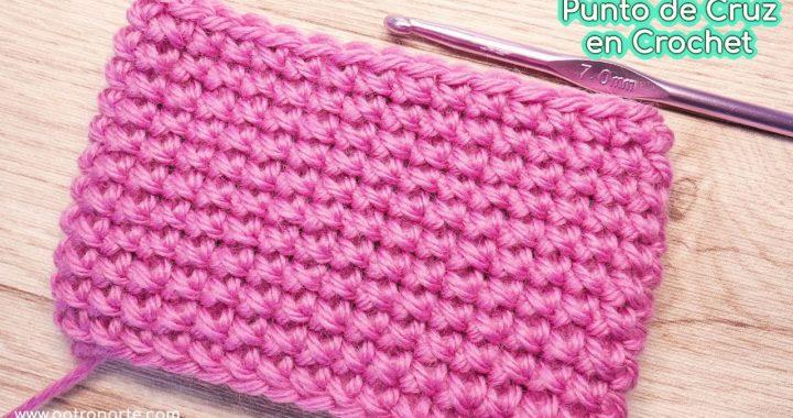 Cómo Tejer Punto de Cruz a Crochet - Ganchillo en Redondo o Punto Bajo Simple en Redondo