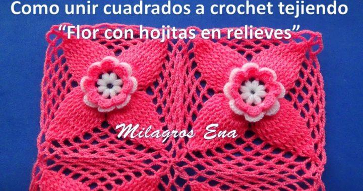 Como unir cuadrados o pastillas a crochet Flor con Hojitas en Relieves paso a paso