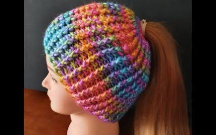 Crochet Beanie RAINBOW Hat. THE EASIEST QUICKEST Ponytail beanie hat EVER. One size fits all.