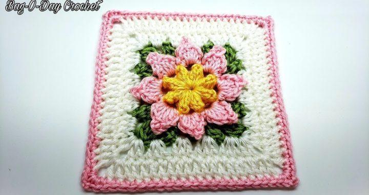 Crochet Flower Granny Square Tutorial | Granny Square For Crochet Blanket | Bag O Day Crochet 773
