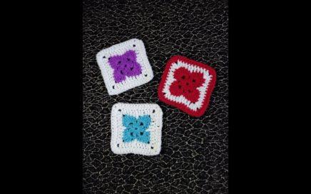 Crochet Four Petal Granny Square Tutorial