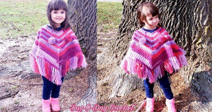 Crochet Toddler Poncho   Pretty in Pink 💖💗💖   Bag o day crochet tutorial #535