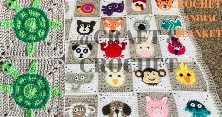 Crochet Turtle/ Crochet animal blanket/crochet baby blanket/Part:18