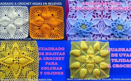Cuadrados tejidos a crochet para mantitas de bebe con video tutorial en mi canal MILAGROS ENA