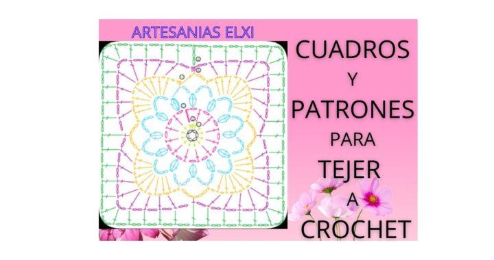 Cuadros con sus patrones para tejer a crochet (con ganchillo).