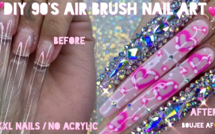DIY 90's air brush nail art | XXXL nails without acrylic | how did I do?! |vanity Val