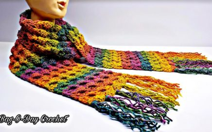 Easy Crochet Scarf | Crochet unisex scarf | Bag O Day Crochet Tutorial 550