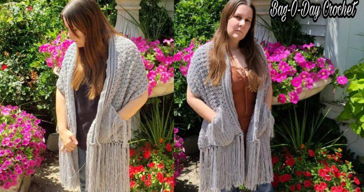 Easy Crochet Shawl   Crochet Pocket Shawl   Easy Crochet Wrap   Bag O Day Crochet